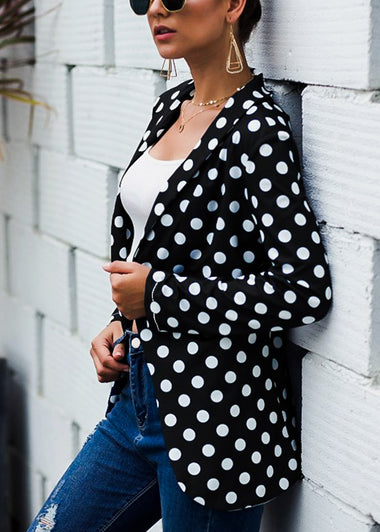 White & Black Polka Dot Blazer