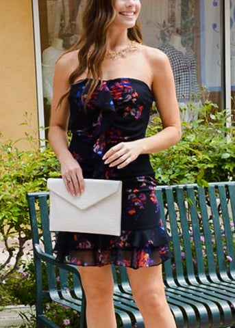 Strapless Floral Ruffle Black Dress