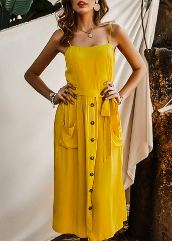 Casual Spaghetti Strap Yellow Dress