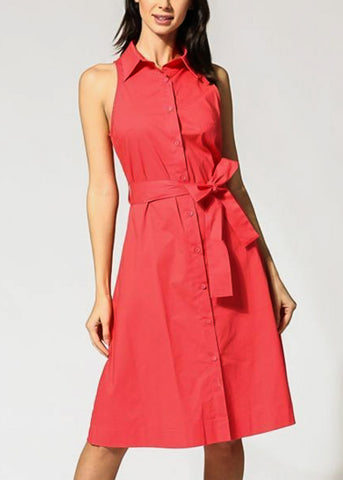 Belted Button Up Coral Shirt Dress