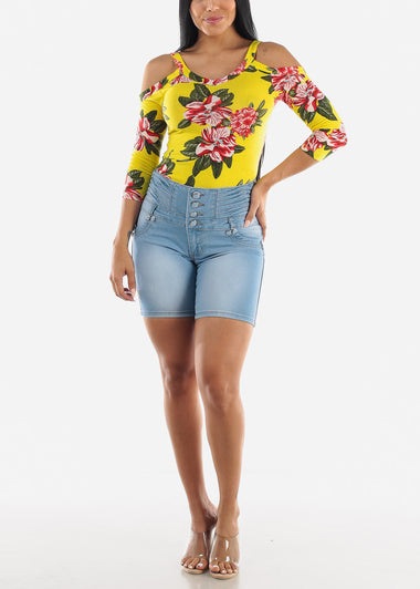 Yellow Floral Open Shoulder Top