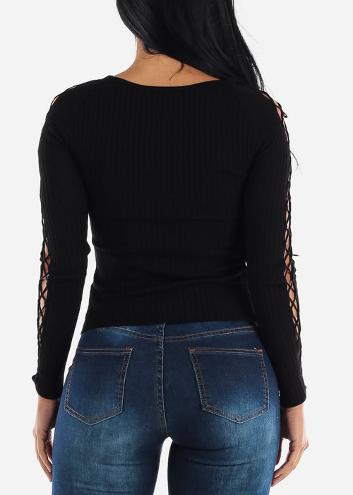 Lace Up Black  Sweater Top