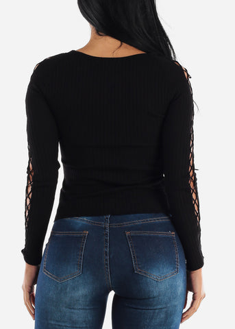 Image of Lace Up Black  Sweater Top