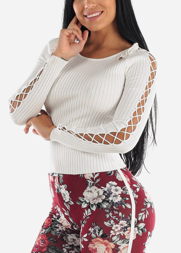 Lace Up White Sweater Top