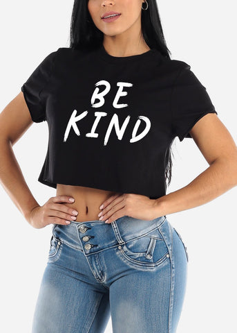 "Black Graphic Crop Top ""Be Kind"""