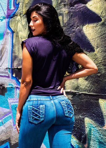 Image of Butt Lifting Blue Skinny Jeans