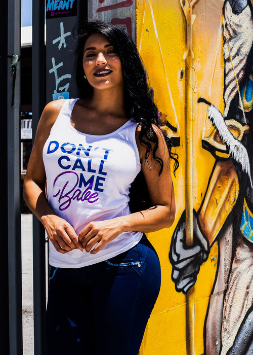 "White Graphic Tank Top ""Don't Call Me Babe"""