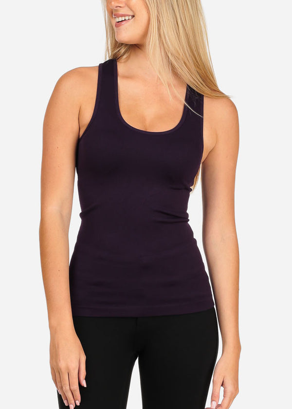 Women's Junior Essential Basic Must Have Racerback Sleeveless Purple Slip On Comfy Stretchy Top