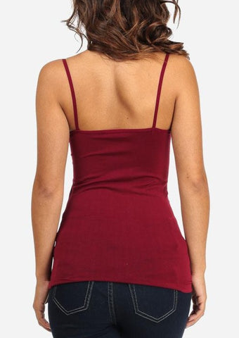 One Size Spaghetti Strap Seamless Top (Burgundy)