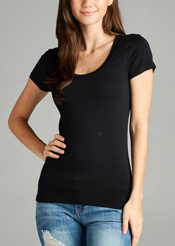 Scoop Neck Basic T-Shirt (Black)
