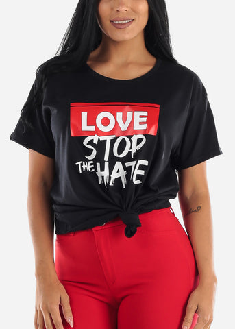 "Image of Black Graphic Tee ""Love Stop The Hate"""