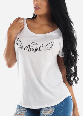 "White Graphic Tee ""Angel"""