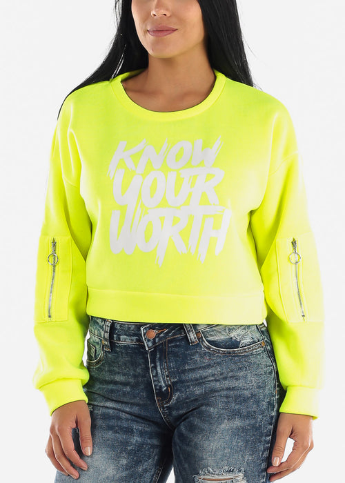 "Neon Yellow Graphic Pullover ""Know Your Worth"""