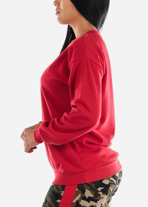 Red Fleece Graphic Sweatshirt