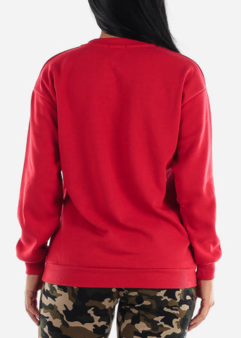 "Red Fleece Graphic Sweatshirt ""Thankful"""