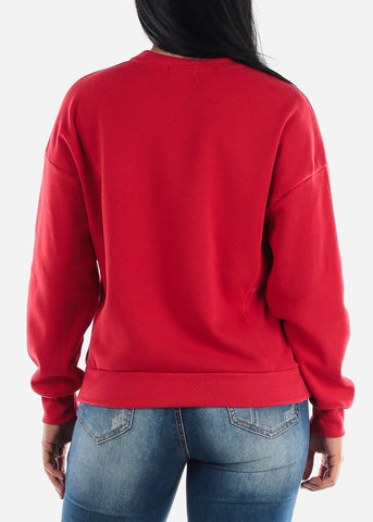Image of Red Fleece Sweatshirt