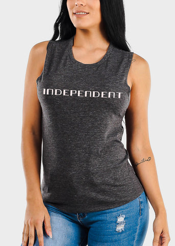"Charcoal Graphic Tank Top ""Independent"""