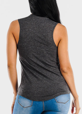 "Charcoal Graphic Tank Top ""You Gossip I Boss Up"""