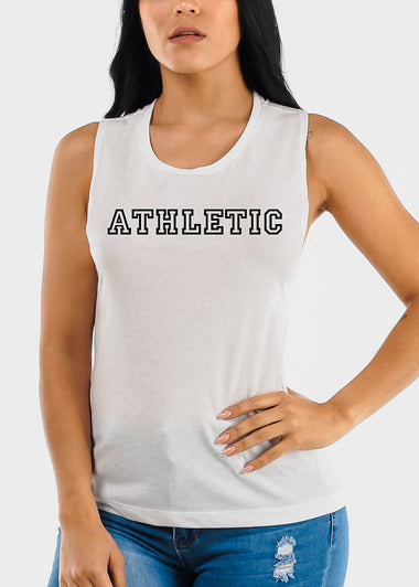 "White Graphic Tank Top ""Athletic"""