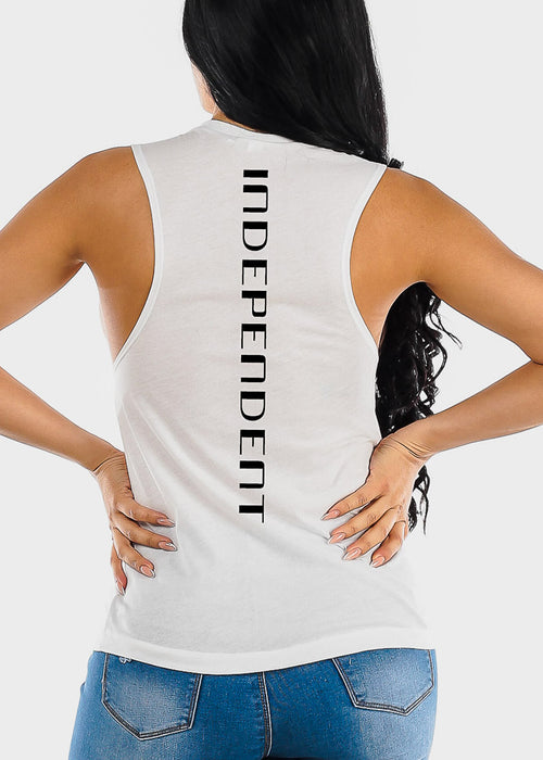 "White Graphic Tank Top ""Independent"""