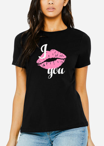 "Black Graphic Tee ""I Kiss You"""