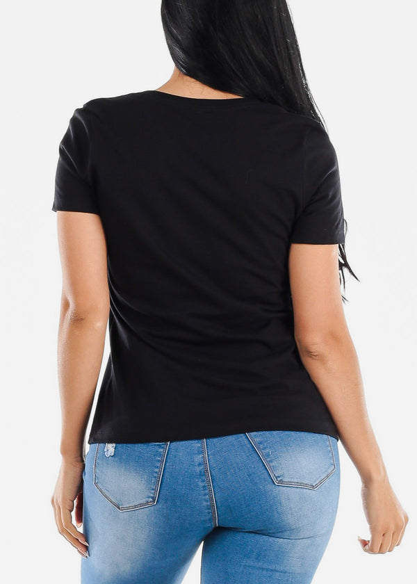 V-neck Black Graphic Tee