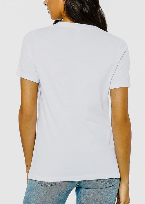 "V-neck White Graphic Tee ""Social Distancing Expert"""