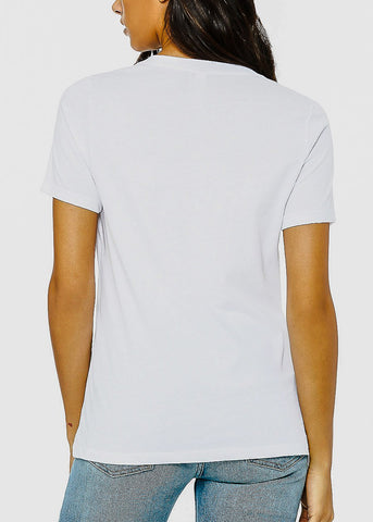 "Image of V-neck White Graphic Tee ""Social Distancing Expert"""