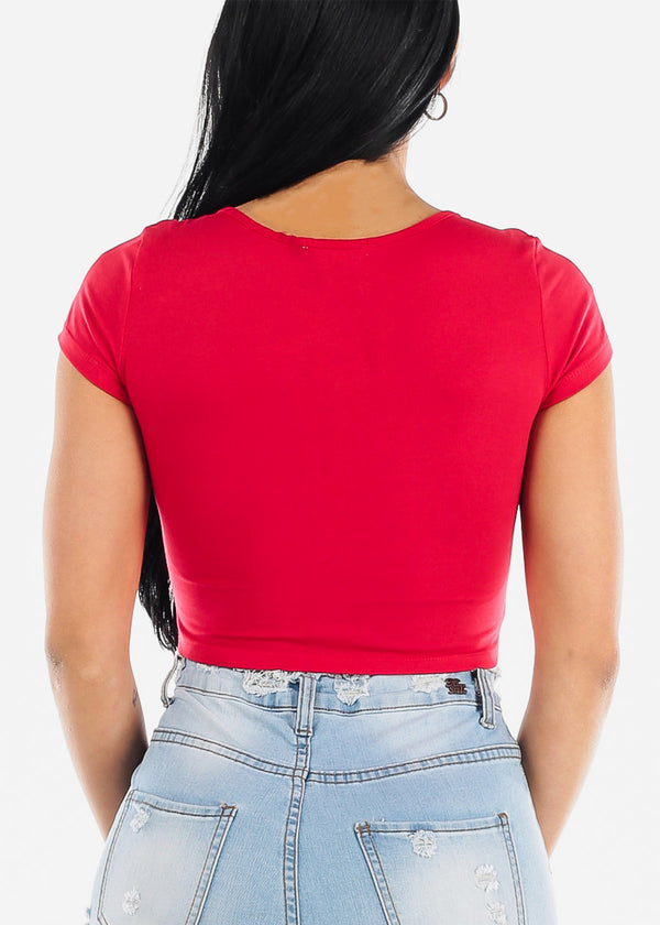 Red Graphic Crop Top