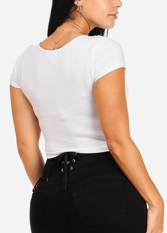 "Image of White Graphic Crop Top ""Arrogant Confident"""