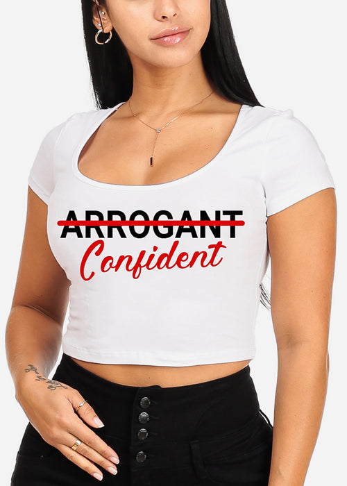 "White Graphic Crop Top ""Arrogant Confident"""