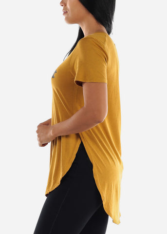 "Image of Mustard Graphic Tunic Top ""Feminist"""