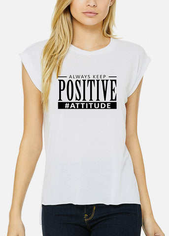 "Image of White Graphic Tee ""Always Keep Positive Attitude"""