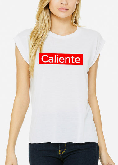 "White Graphic Tee ""Caliente"""