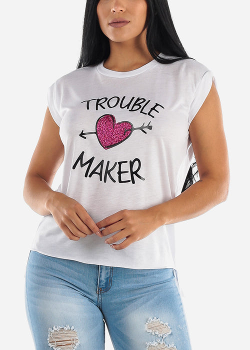 "White Graphic Tee ""Trouble Maker"""