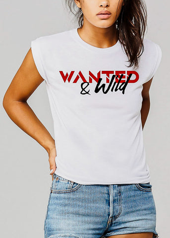 "White Graphic Tee ""Wanted & Wild"""