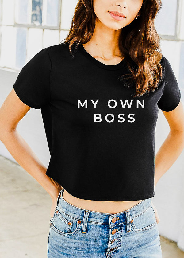 "Black Graphic Crop Tee ""My Own Boss"""