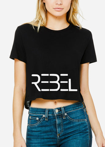 "Black Graphic Crop Tee ""Rebel"""