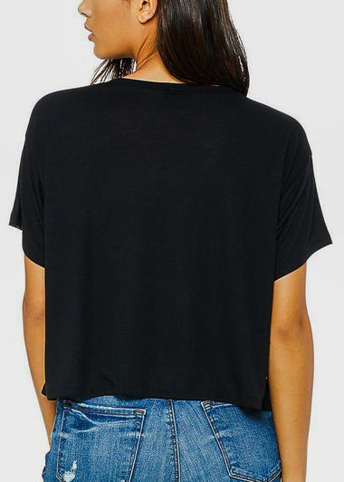 Black Cropped Graphic Tee