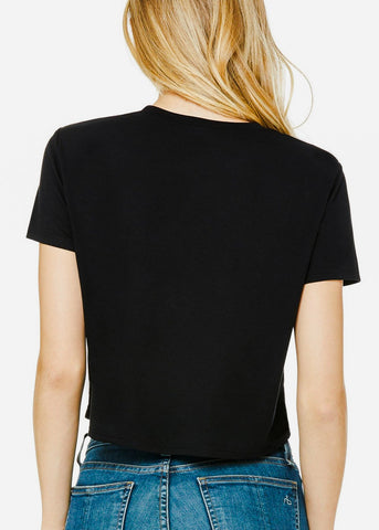 "Image of Cropped Black Graphic Tee ""Social Distancing"""