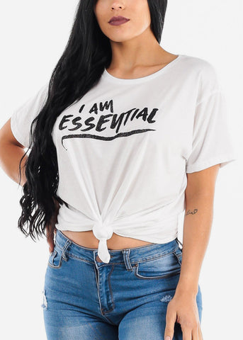"White Graphic Tee ""I Am Essential"""