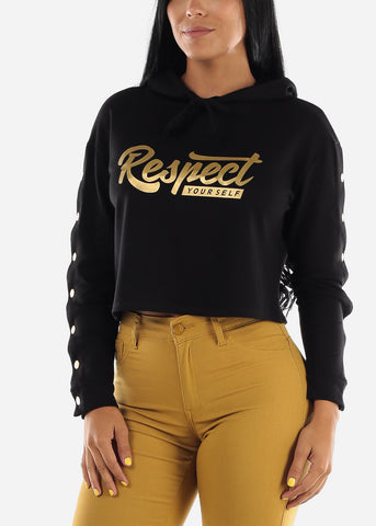 "Black Graphic Crop Hoodie ""Respect Yourself"""