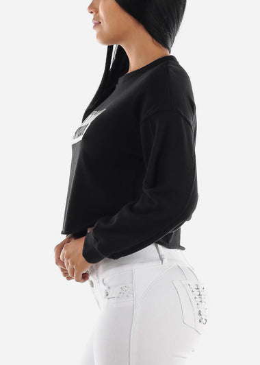 Black Graphic Cropped Pullover