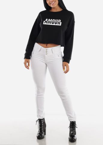 "Black Graphic Cropped Pullover ""Amour"""