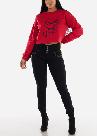 "Red Graphic Cropped Pullover ""Faith Over Fear"""