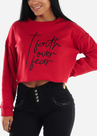 "Red Graphic Cropped Pullover ""Faith Over Fear"" Sweater"