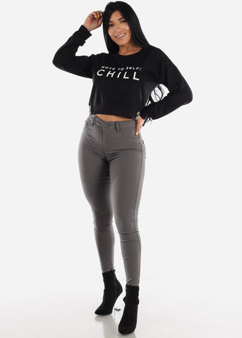 "Black Graphic Pullover Top ""Chill"""