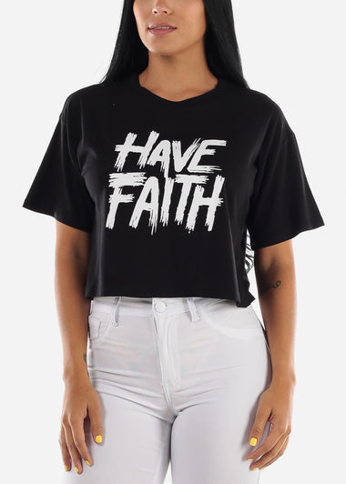 "Black Graphic Crop  Top ""Have Faith"""