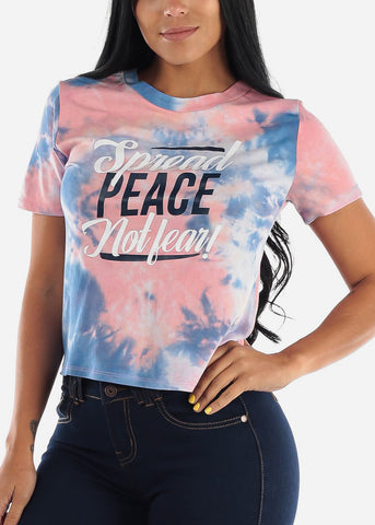 "Image of Tie Die Graphic Top ""Spread Love Not Fear"""