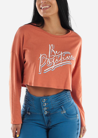 "Image of Orange Graphic Crop Top ""Be Positive"""